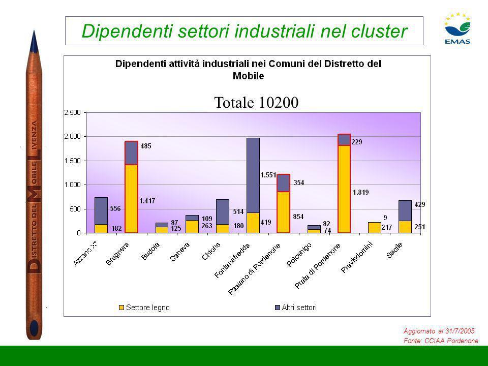 Dipendenti settori industriali nel cluster Aggiornato al 31/7/2005 Fonte: CCIAA Pordenone Totale 10200
