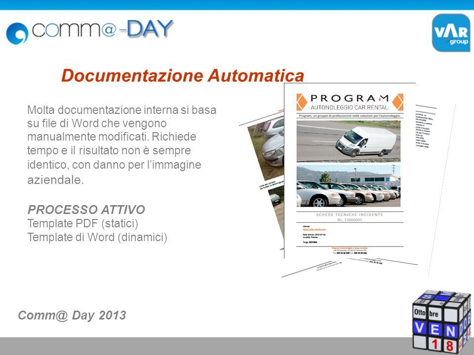 Documentazione Automatica Molta documentazione interna si basa su file di Word che vengono manualmente modificati.