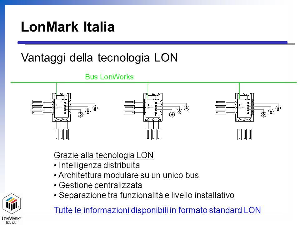 LonMark Italia Vantaggi della tecnologia LON Grazie alla tecnologia LON Intelligenza distribuita Architettura modulare su un unico bus Gestione centra