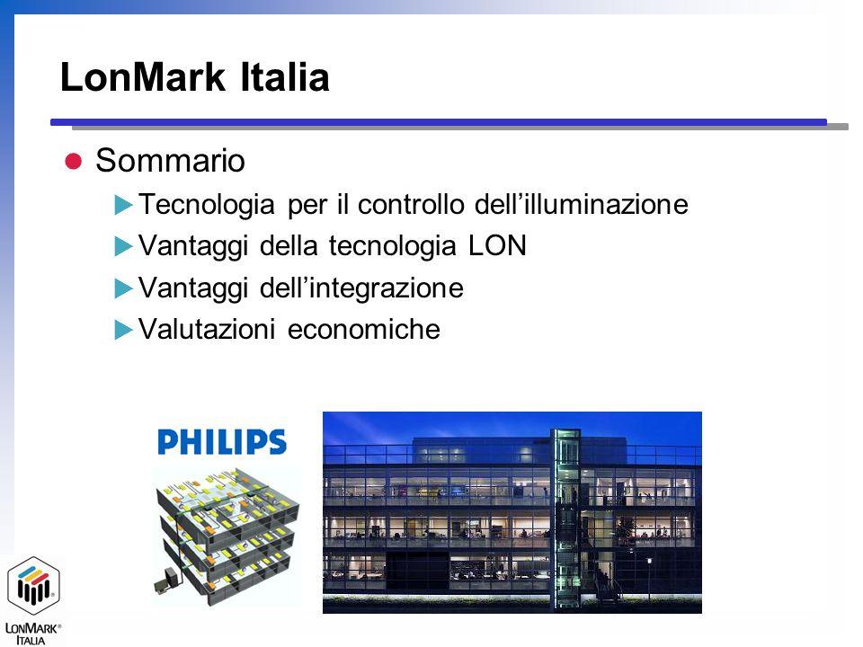 LonMark Italia Controllo da pulsanti e telocomandi On/Off/Regolazione degli apparecchi di illuminazione Controllo presenza persona Regolazione tramite fotocellula Programmazione oraria Flessibilità della configurazione Monitoraggio dei consumi, Telemanutenzione Tecnologia per il controllo dellilluminazione