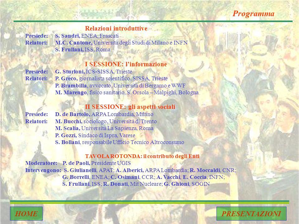 PRESENTAZIONI Relazioni introduttive Presiede:S. Sandri, ENEA, Frascati Relatori:M.C.