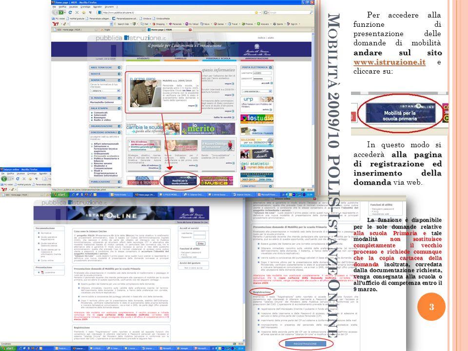 M OBILITÀ 2009/10 POLIS-I STANZE O NLINE andare sul sito www.istruzione.it Per accedere alla funzione di presentazione delle domande di mobilità andare sul sito www.istruzione.it e cliccare su: www.istruzione.it alla pagina di registrazione ed inserimento della domanda In questo modo si accederà alla pagina di registrazione ed inserimento della domanda via web.