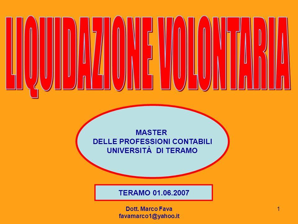 Dott. Marco Fava favamarco1@yahoo.it 1 MASTER DELLE PROFESSIONI CONTABILI UNIVERSITÀ DI TERAMO TERAMO 01.06.2007
