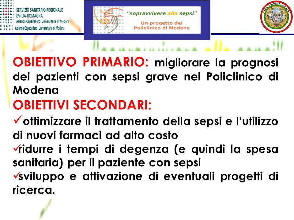OBIETTIVO PRIMARIO: migliorare la prognosi dei pazienti con sepsi grave nel Policlinico di Modena OBIETTIVI SECONDARI: ottimizzare il trattamento dell