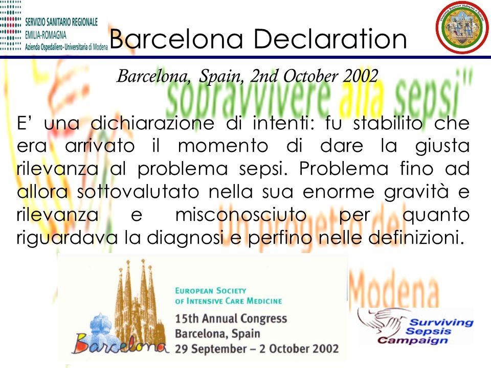 Barcelona Declaration Barcelona, Spain, 2nd October 2002 E una dichiarazione di intenti: fu stabilito che era arrivato il momento di dare la giusta ri