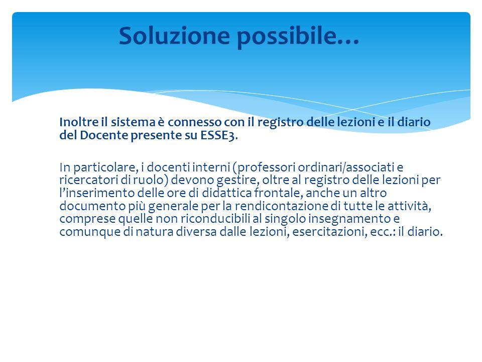 Inoltre il sistema è connesso con il registro delle lezioni e il diario del Docente presente su ESSE3.