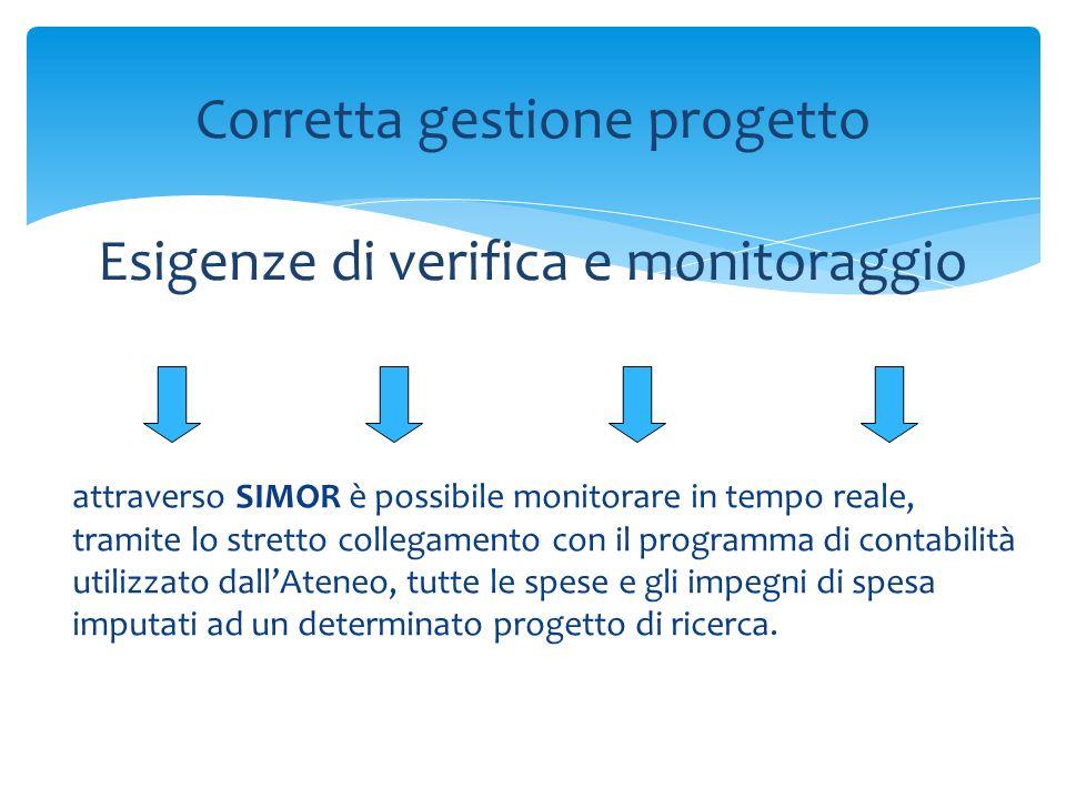 attraverso SIMOR è possibile monitorare in tempo reale, tramite lo stretto collegamento con il programma di contabilità utilizzato dallAteneo, tutte le spese e gli impegni di spesa imputati ad un determinato progetto di ricerca.