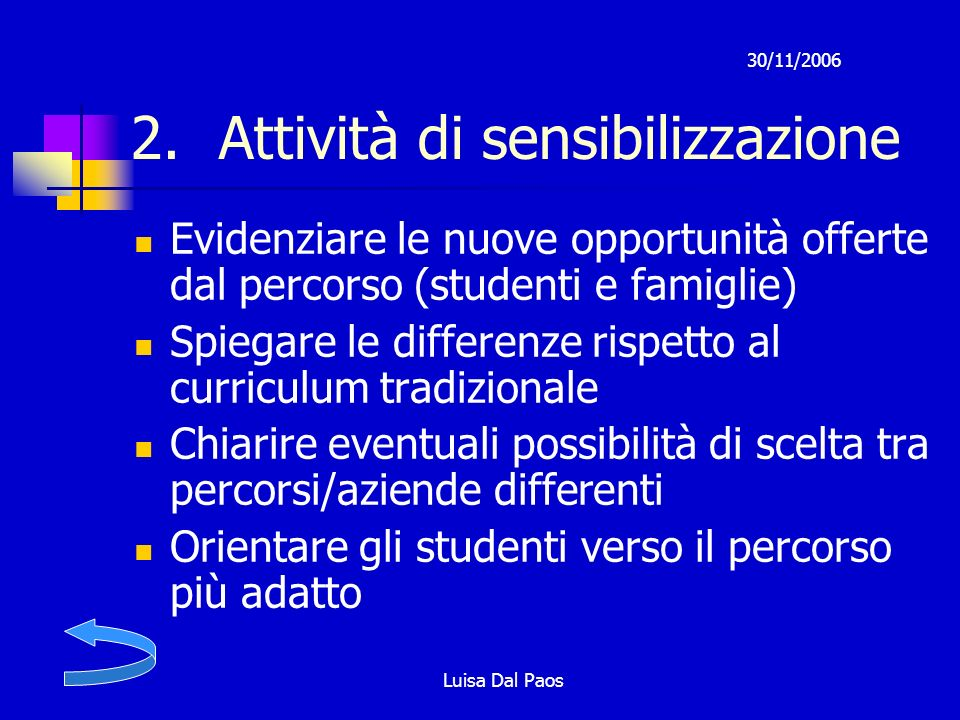 30/11/2006 Luisa Dal Paos 2.Attività di sensibilizzazione Evidenziare le nuove opportunità offerte dal percorso (studenti e famiglie) Spiegare le diff