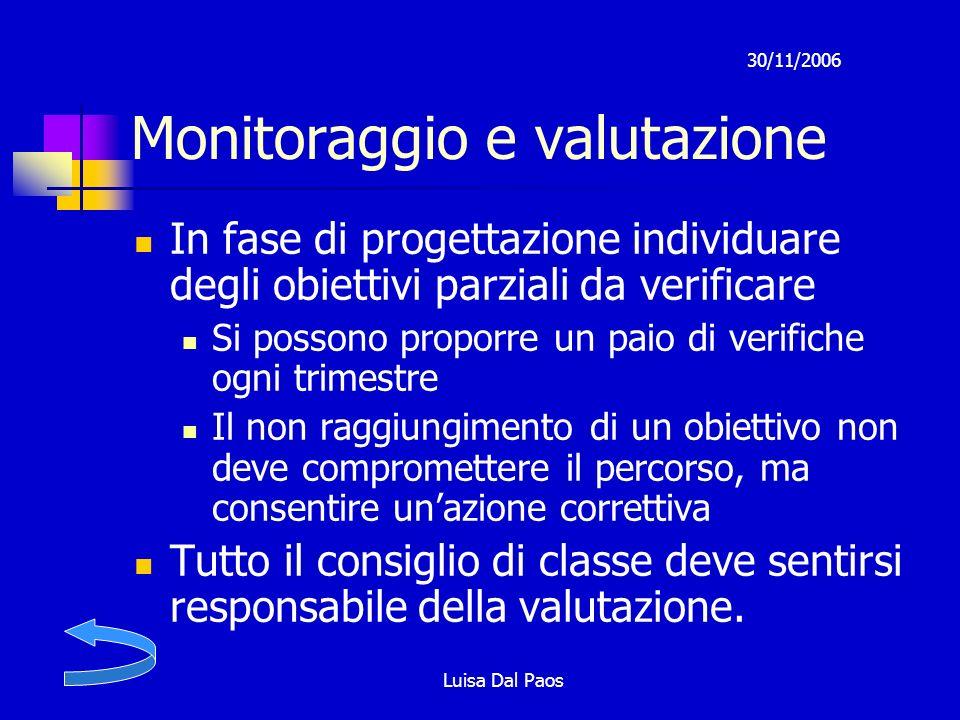 30/11/2006 Luisa Dal Paos Monitoraggio e valutazione In fase di progettazione individuare degli obiettivi parziali da verificare Si possono proporre u