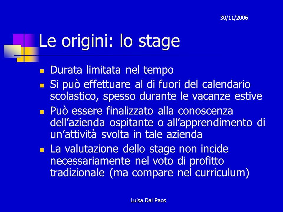 30/11/2006 Luisa Dal Paos Le origini: lo stage Durata limitata nel tempo Si può effettuare al di fuori del calendario scolastico, spesso durante le va