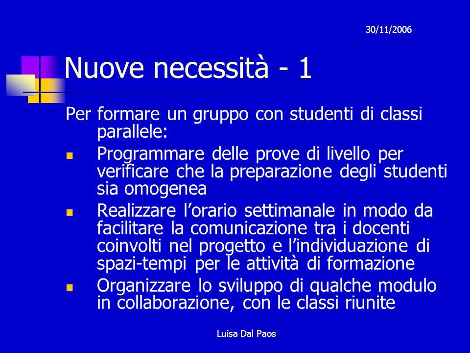 30/11/2006 Luisa Dal Paos Nuove necessità - 1 Per formare un gruppo con studenti di classi parallele: Programmare delle prove di livello per verificar