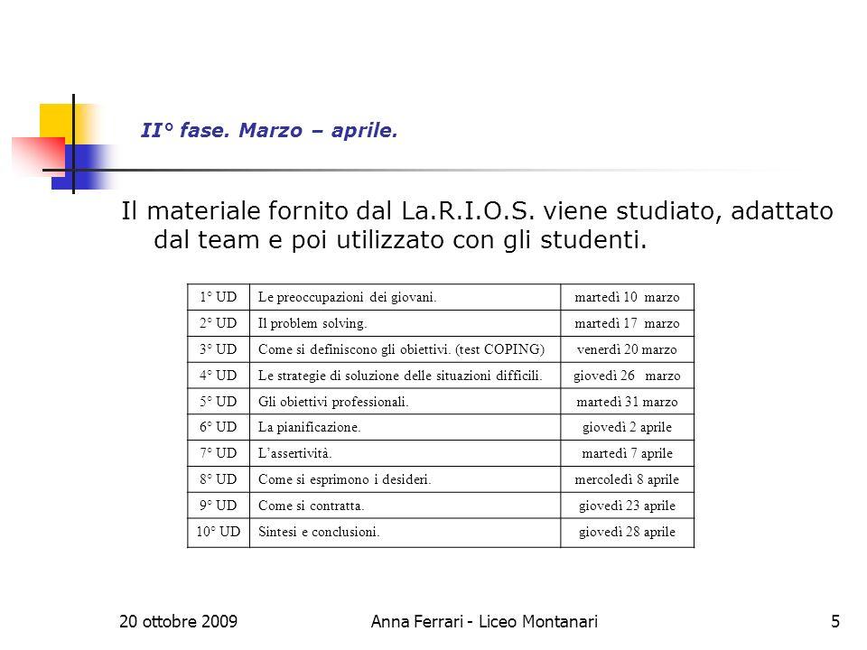 20 ottobre 2009Anna Ferrari - Liceo Montanari5 II° fase.