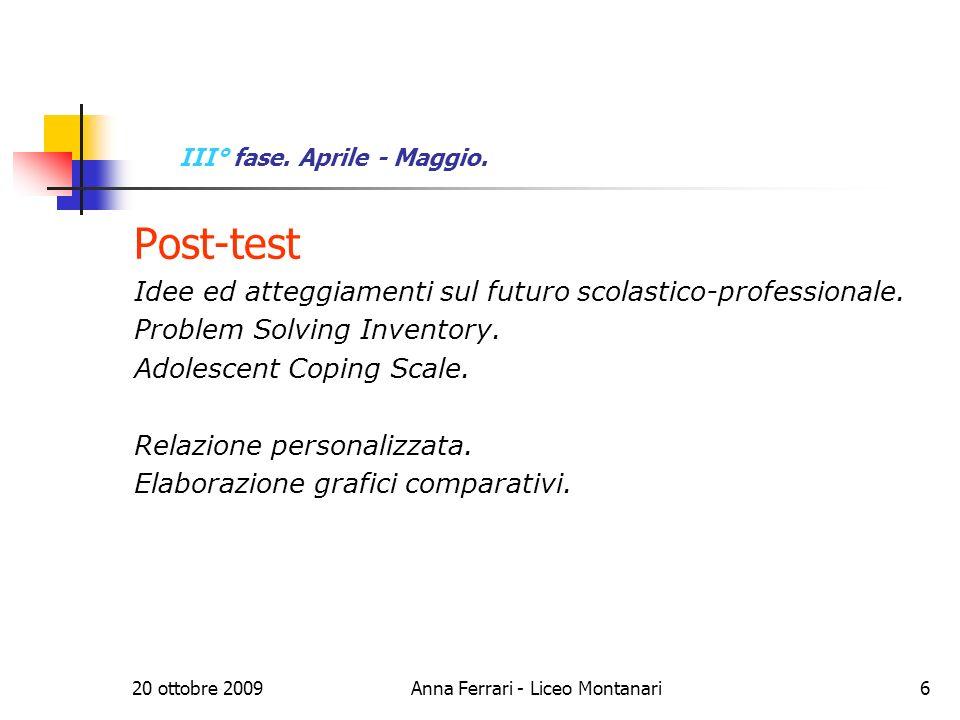 20 ottobre 2009Anna Ferrari - Liceo Montanari6 III° fase.