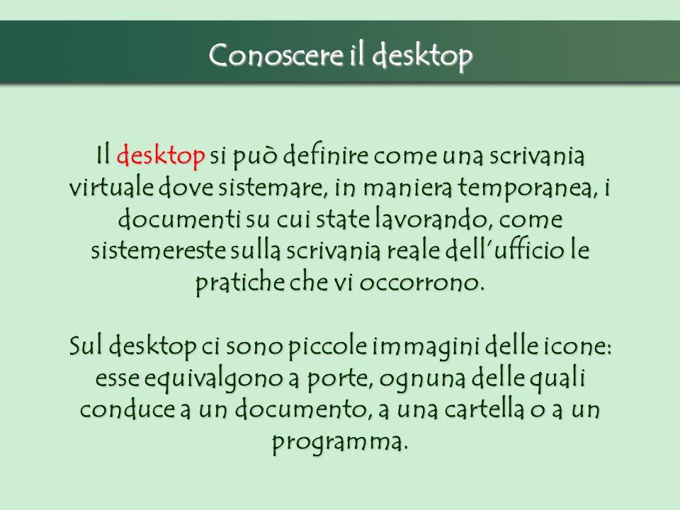 Conoscere il desktop Il desktop si può definire come una scrivania virtuale dove sistemare, in maniera temporanea, i documenti su cui state lavorando,