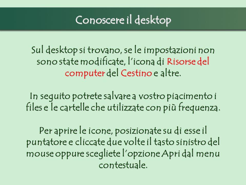 Conoscere il desktop Sul desktop si trovano, se le impostazioni non sono state modificate, licona di Risorse del computer del Cestino e altre. In segu
