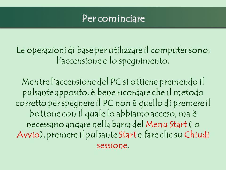 Per cominciare Le operazioni di base per utilizzare il computer sono: laccensione e lo spegnimento. Mentre laccensione del PC si ottiene premendo il p