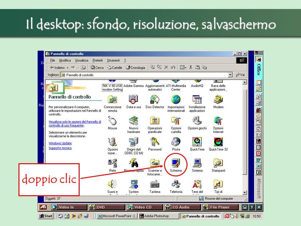 Il desktop: sfondo, risoluzione, salvaschermo doppio clic