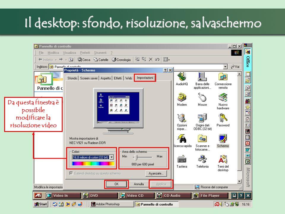 Da questa finestra è possibile modificare la risoluzione video