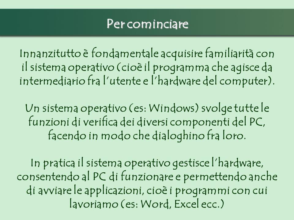 Innanzitutto è fondamentale acquisire familiarità con il sistema operativo (cioè il programma che agisce da intermediario fra lutente e lhardware del