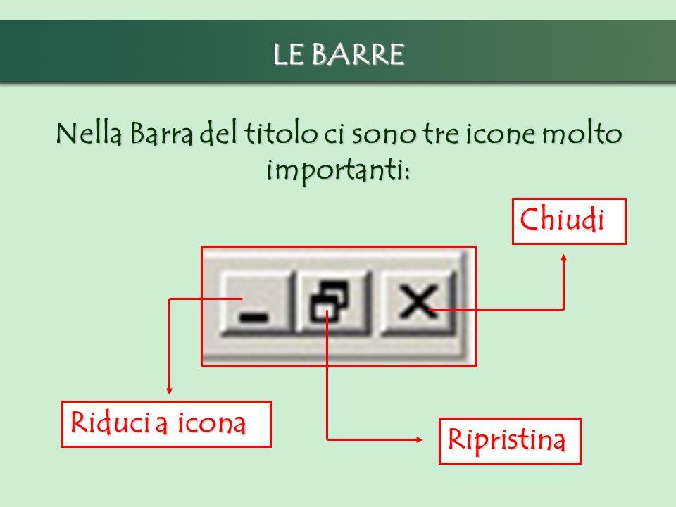 LE BARRE Nella Barra del titolo ci sono tre icone molto importanti: Ripristina Chiudi Riduci a icona