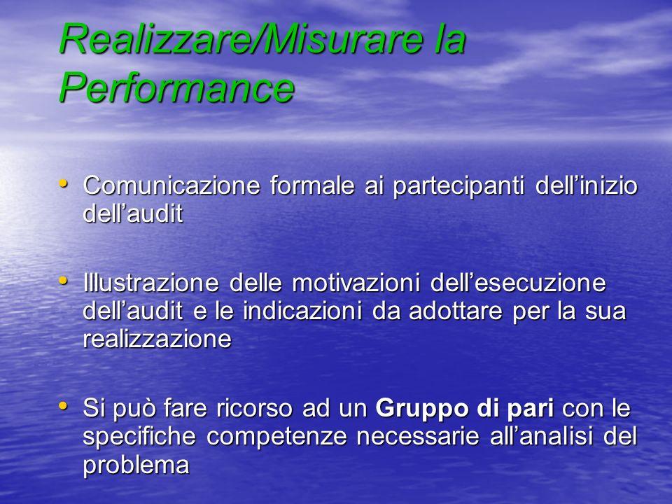 Realizzare/Misurare la Performance Comunicazione formale ai partecipanti dellinizio dellaudit Comunicazione formale ai partecipanti dellinizio dellaud