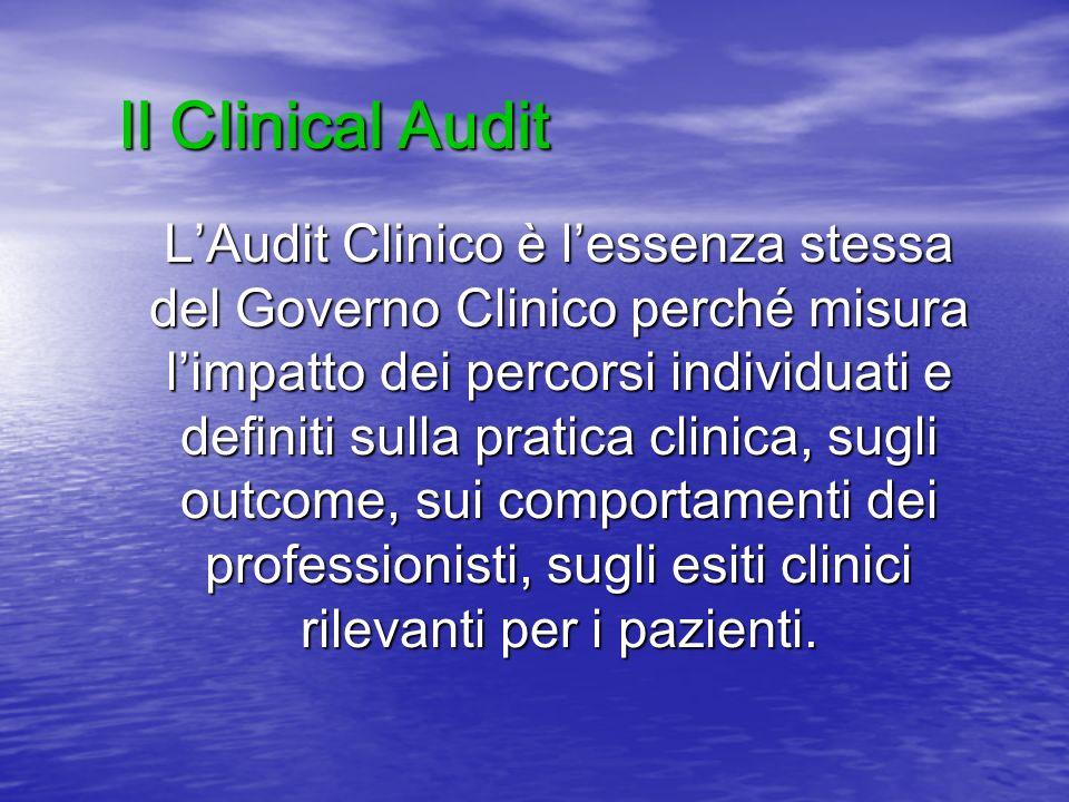 LAudit Clinico è lessenza stessa del Governo Clinico perché misura limpatto dei percorsi individuati e definiti sulla pratica clinica, sugli outcome,