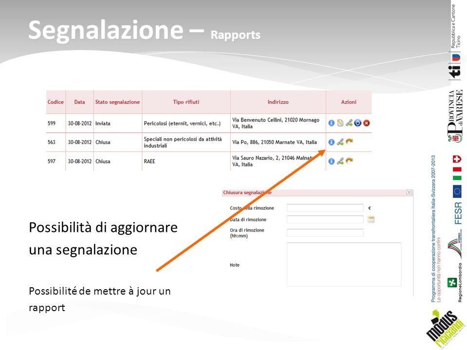 Possibilità di aggiornare una segnalazione Possibilité de mettre à jour un rapport