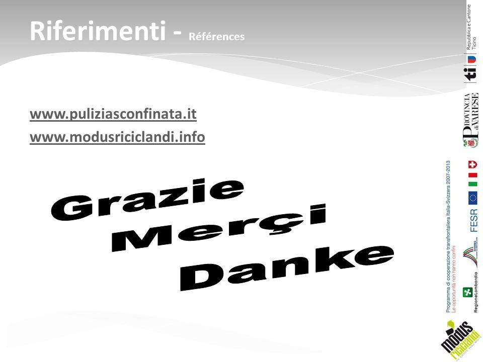 www.puliziasconfinata.it www.modusriciclandi.info Riferimenti - Références