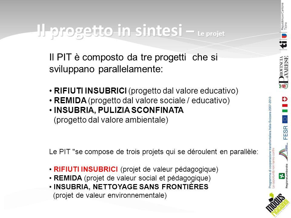 Il progetto in sintesi – Le projet Le PIT se compose de trois projets qui se déroulent en parallèle: RIFIUTI INSUBRICI (projet de valeur pédagogique) REMIDA (projet de valeur social et pédagogique) INSUBRIA, NETTOYAGE SANS FRONTIÈRES (projet de valeur environnementale) Il PIT è composto da tre progetti che si sviluppano parallelamente: RIFIUTI INSUBRICI (progetto dal valore educativo) REMIDA (progetto dal valore sociale / educativo) INSUBRIA, PULIZIA SCONFINATA (progetto dal valore ambientale)