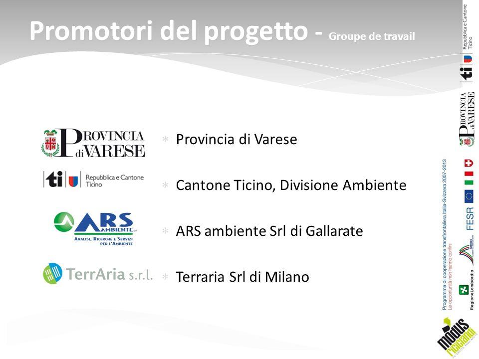 Provincia di Varese Cantone Ticino, Divisione Ambiente ARS ambiente Srl di Gallarate Terraria Srl di Milano Promotori del progetto - Groupe de travail
