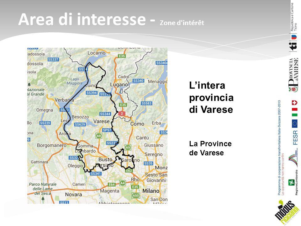 Area di interesse - Zone d'intérêt Lintera provincia di Varese La Province de Varese
