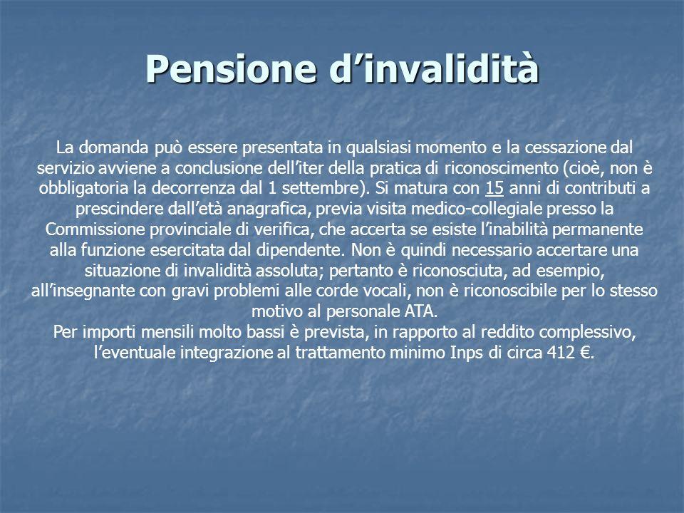 Pensione dinvalidità La domanda può essere presentata in qualsiasi momento e la cessazione dal servizio avviene a conclusione delliter della pratica d