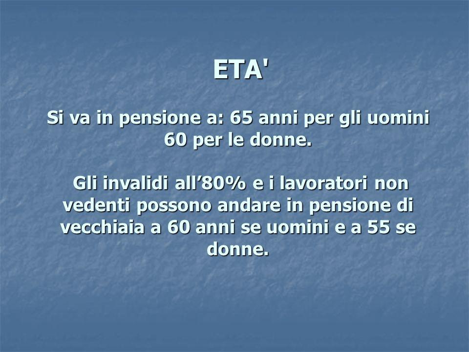 ETA' Si va in pensione a: 65 anni per gli uomini 60 per le donne. Gli invalidi all80% e i lavoratori non vedenti possono andare in pensione di vecchia