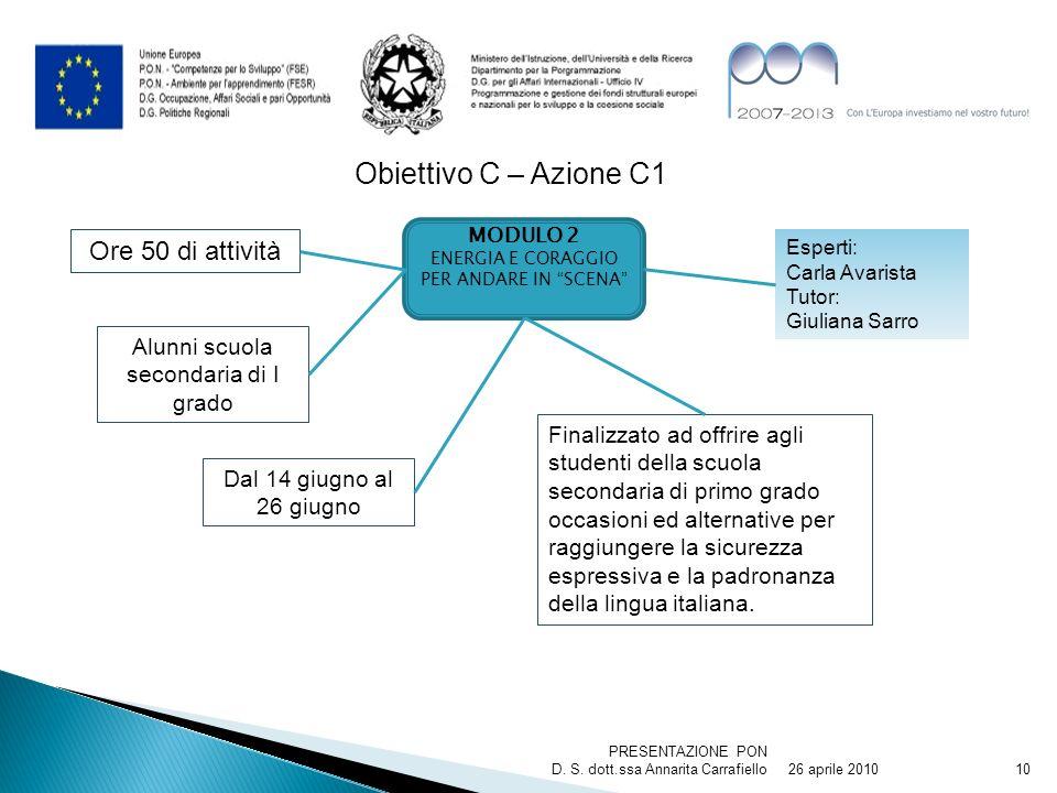 26 aprile 2010 PRESENTAZIONE PON D. S. dott.ssa Annarita Carrafiello10 Obiettivo C – Azione C1 MODULO 2 ENERGIA E CORAGGIO PER ANDARE IN SCENA Finaliz