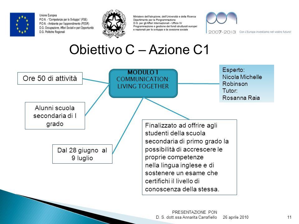 26 aprile 2010 PRESENTAZIONE PON D. S. dott.ssa Annarita Carrafiello11 Obiettivo C – Azione C1 MODULO 1 COMMUNICATION: LIVING TOGETHER Finalizzato ad