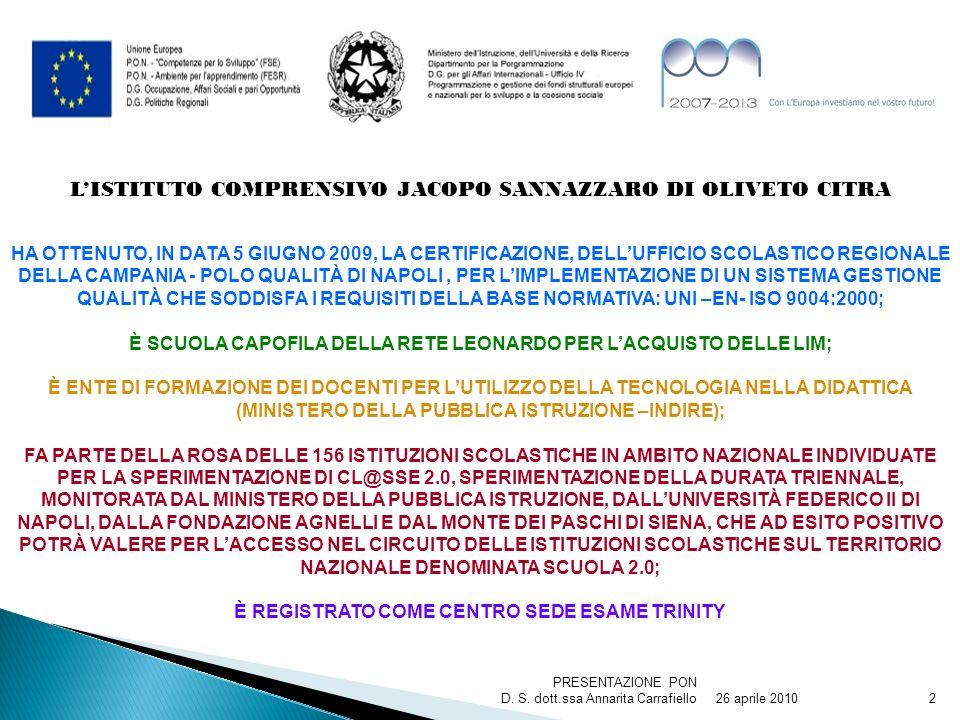 26 aprile 2010 PRESENTAZIONE PON D. S. dott.ssa Annarita Carrafiello2 LISTITUTO COMPRENSIVO JACOPO SANNAZZARO DI OLIVETO CITRA HA OTTENUTO, IN DATA 5