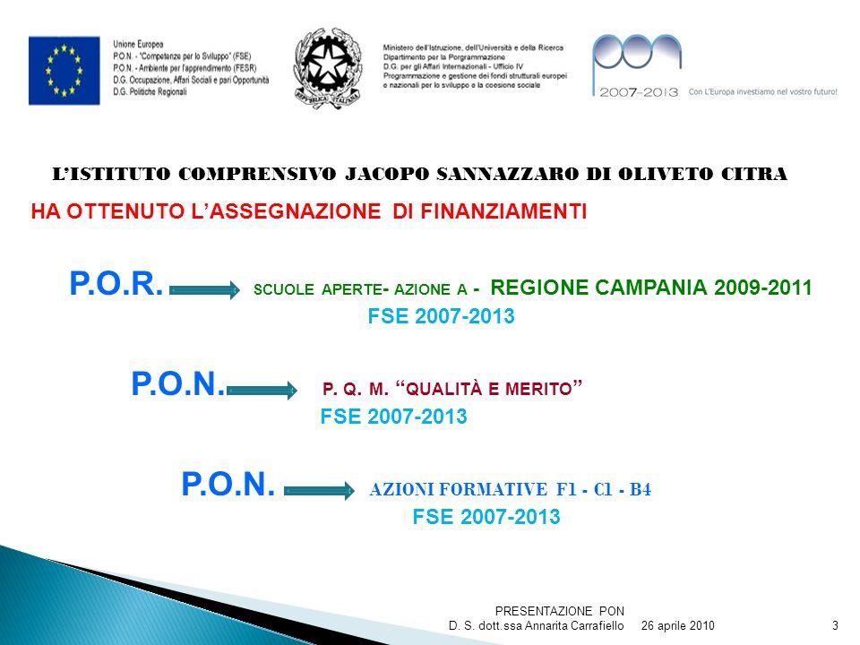 26 aprile 2010 PRESENTAZIONE PON D. S. dott.ssa Annarita Carrafiello3 P.O.R. SCUOLE APERTE - AZIONE A - REGIONE CAMPANIA 2009-2011 FSE 2007-2013 P.O.N