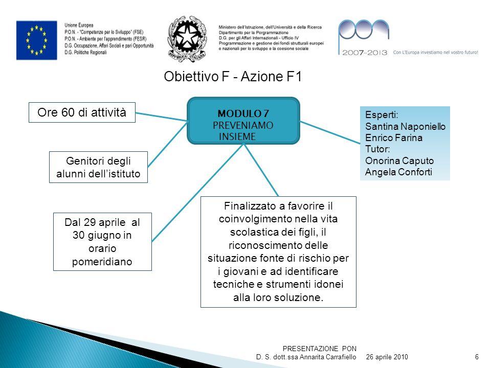 26 aprile 2010 PRESENTAZIONE PON D. S. dott.ssa Annarita Carrafiello6 Obiettivo F - Azione F1 MODULO 7 PREVENIAMO INSIEME Finalizzato a favorire il co