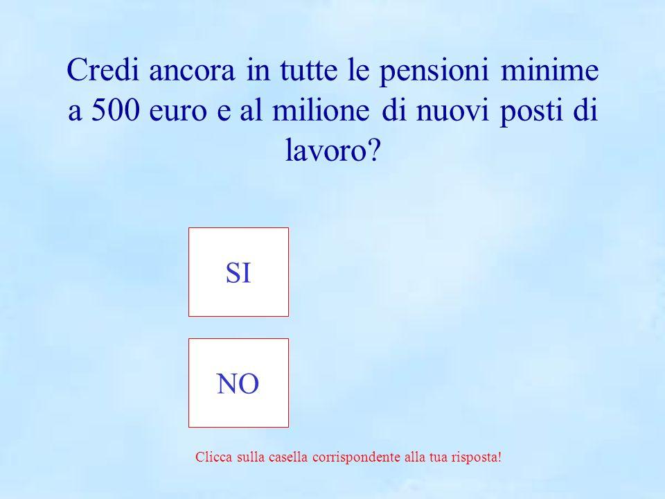 SINO Clicca sulla casella corrispondente alla tua risposta! Credi ancora in tutte le pensioni minime a 500 euro e al milione di nuovi posti di lavoro?