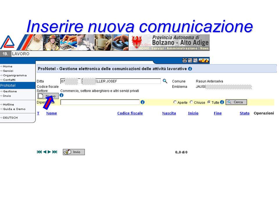 Inserire nuova comunicazione