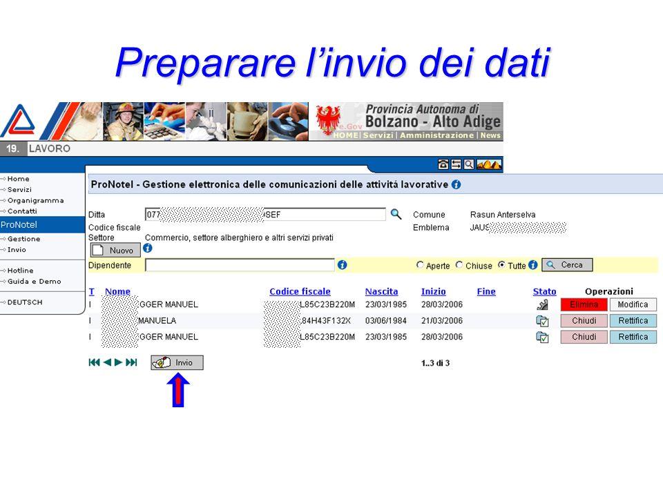 Lesportazione dei dati nel file delle comunicazioni