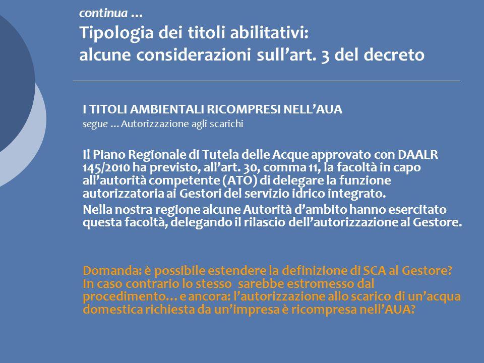 I TITOLI AMBIENTALI RICOMPRESI NELLAUA b) comunicazione preventiva ex art.