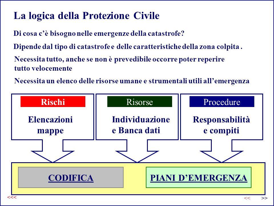 La logica della Protezione Civile Di cosa cè bisogno nelle emergenze della catastrofe? Dipende dal tipo di catastrofe e delle caratteristiche della zo