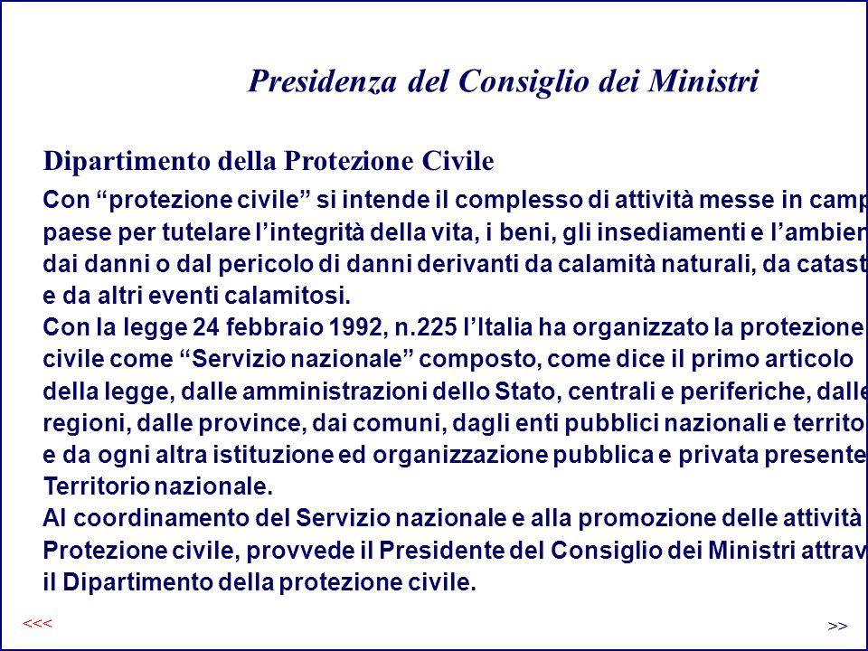 Lorganizzazione Protezione Civile Livello Nazionale GovernoMinisteri Enti Pubblici di interesse Livello Regionale Comitato Regionale Regione Sanità, Trasporti.