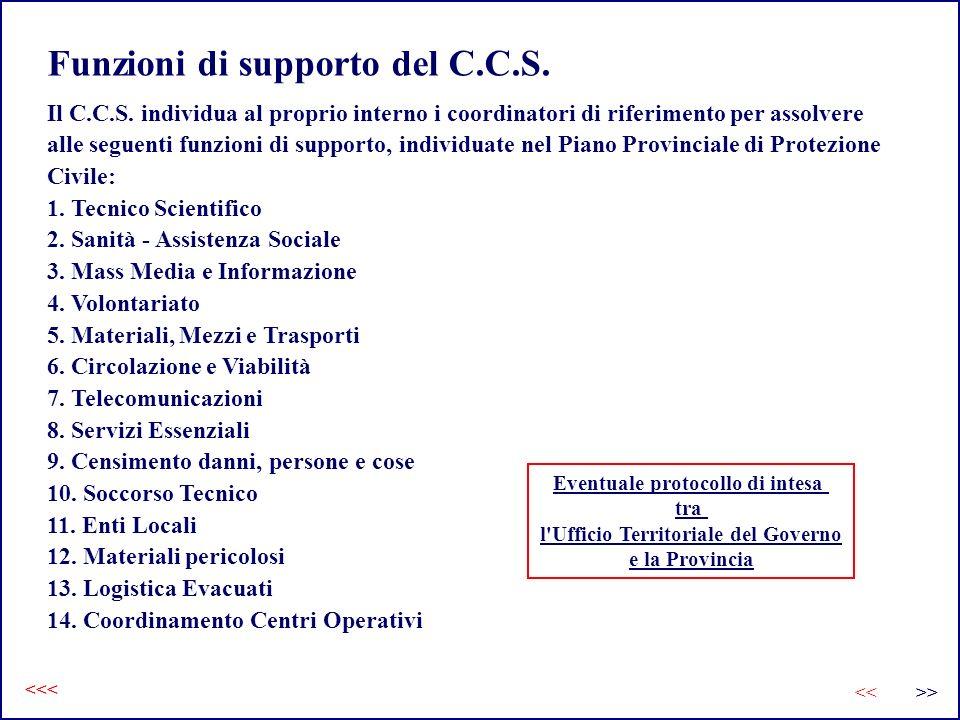 Funzioni di supporto del C.C.S. Il C.C.S. individua al proprio interno i coordinatori di riferimento per assolvere alle seguenti funzioni di supporto,