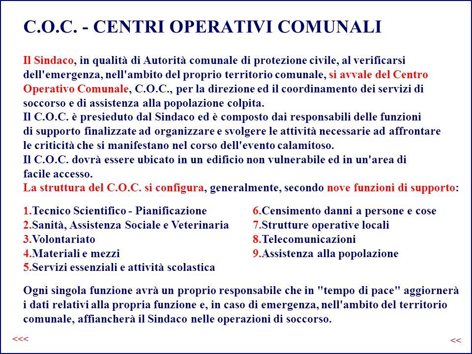 C.O.C. - CENTRI OPERATIVI COMUNALI Il Sindaco, in qualità di Autorità comunale di protezione civile, al verificarsi dell'emergenza, nell'ambito del pr