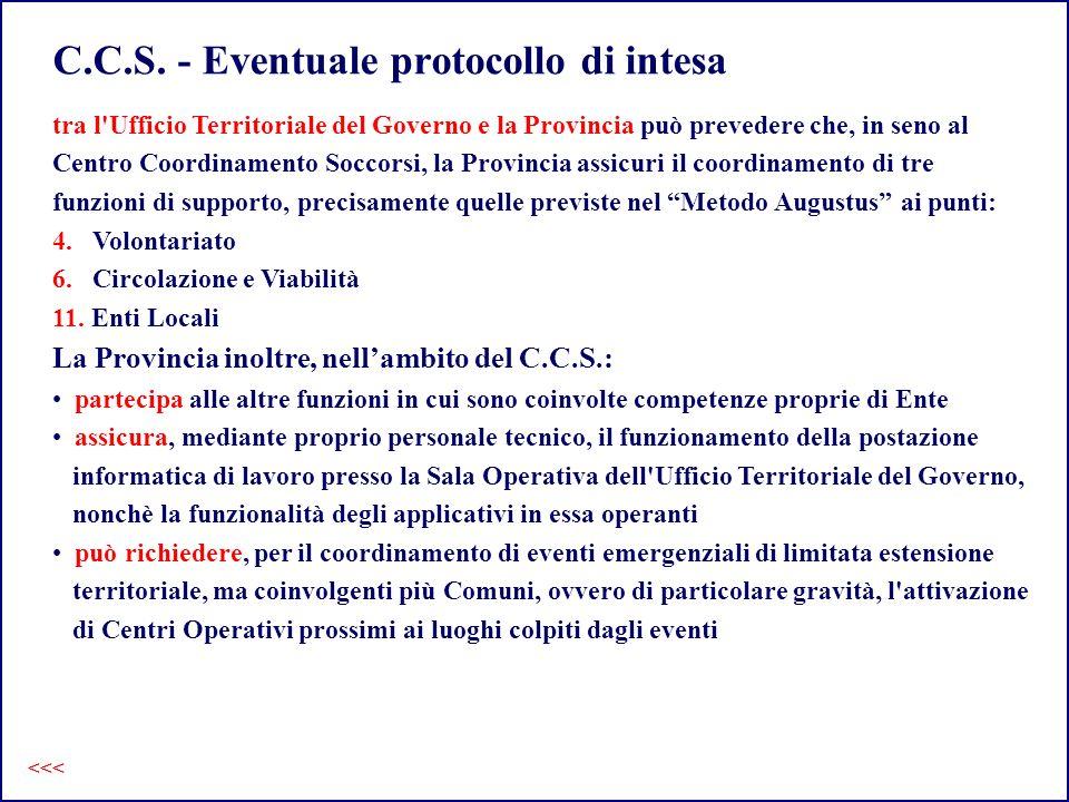 C.C.S. - Eventuale protocollo di intesa tra l'Ufficio Territoriale del Governo e la Provincia può prevedere che, in seno al Centro Coordinamento Socco