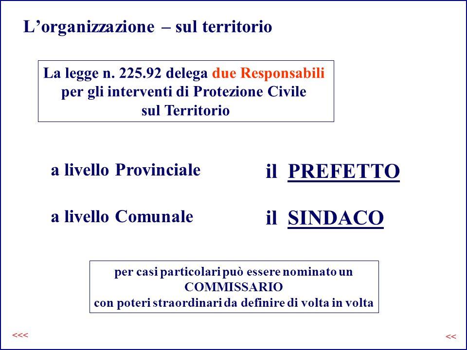 Lorganizzazione – sul territorio La legge n. 225.92 delega due Responsabili per gli interventi di Protezione Civile sul Territorio a livello Comunale