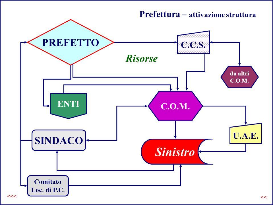Prefettura – attivazione struttura PREFETTO SINDACO Sinistro C.O.M. C.C.S. da altri C.O.M. ENTI U.A.E. Risorse Comitato Loc. di P.C. << <<<