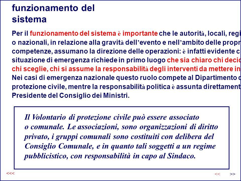 funzionamento del sistema Per il funzionamento del sistema è importante che le autorit à, locali, regionali o nazionali, in relazione alla gravit à de